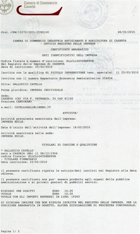 certificato iscrizione commercio foto certificato c c i a a di imp edile geom galluccio