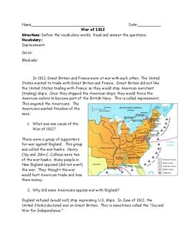 Some Friendly Advice Math Worksheet Answers by War Of 1812 Reading And Questions Worksheet With Answer