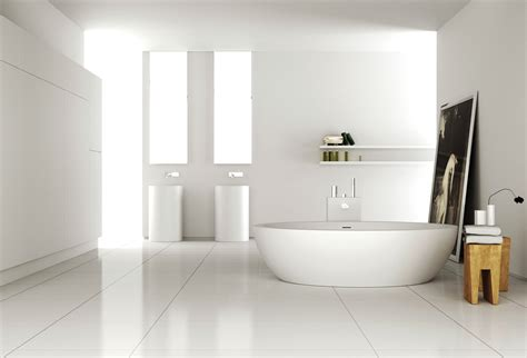 white on white bathroom white acrylic freestanding tub and rounded brown wooden