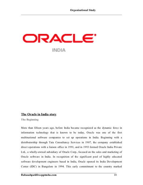Spot Offer Letter In Bangalore A Project Report On Orgniziation Study Of Oracle
