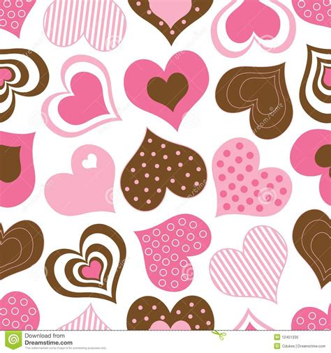 pattern brown pink brown and pink hearts pattern stock vector illustration