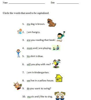 Kindergarten Capitalization Worksheets by Capitalization Worksheet For Kindergarten 1 Page By