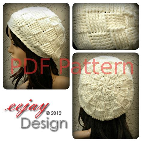 pdf crochet hat pattern womens basketweave slouchy beret