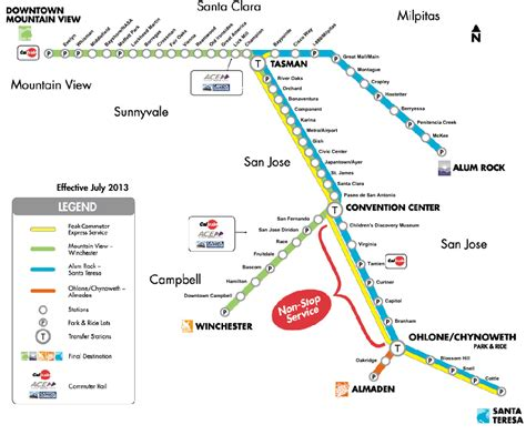 vta light rail map the san jose the vta light rail efficiency project