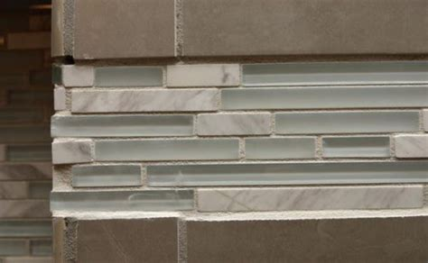 Installing Glass Tile Backsplash In Kitchen by How To Get Mosaic Or Glass Tile Accent Strip Flat Diytileguy