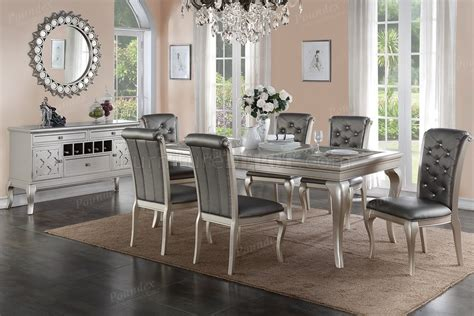 silver wood dining table f2151 dining table in silver tone by w options