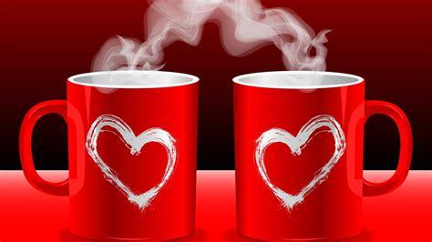 coffee wallpaper red 下载壁纸 1366x768 红色爱的情侣咖啡杯 桌面背景