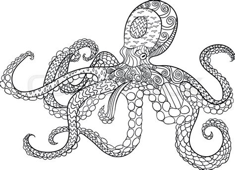 octopus with high details antistress coloring page