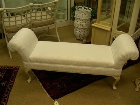 queen anne bench 174 queen anne style rolled arm damask sofa bed bench lot 174