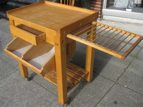 rolling butcher block table uhuru furniture collectibles sold rolling le gourmand