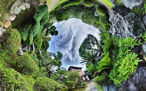 nature landscape trees clouds panoramic sphere