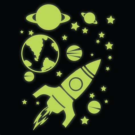 glow in the stickers for walls glow in the rocket planets and wall stickers