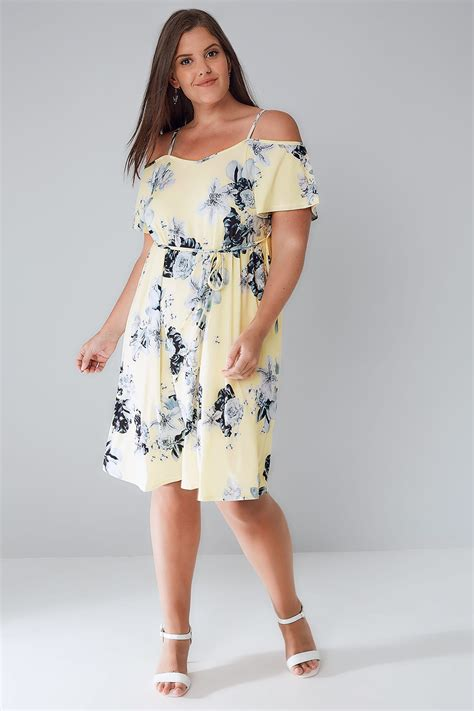 Grey Flower Cold Shoulder Dress Size S M L yellow grey floral cold shoulder jersey cami dress with waist tie plus size 16 to 36