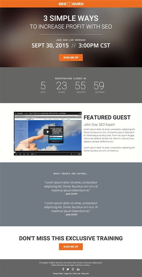 Increase Signups With This Modern Webinar Registration Page Leadpages Webinar Template