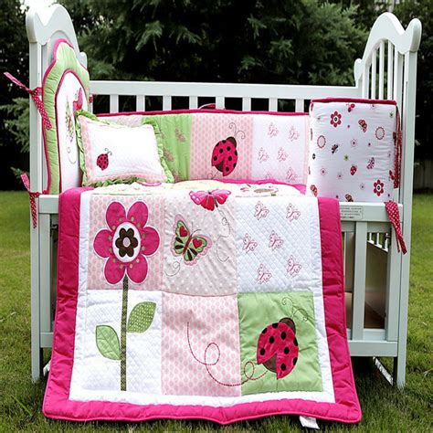 Embroidered Ladybug Flowers Butterfly 3d Cotton Baby Crib Ladybug Baby Bedding Sets