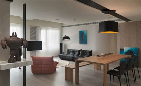 layout interior taiwanese apartment with simple layout and punchy palette
