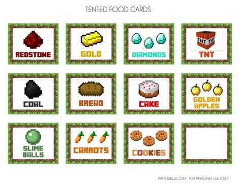free minecraft printables party food