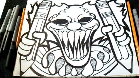 imagenes de graffitis a lapiz dibujo payaso con lapices graffiti z 228 xx youtube