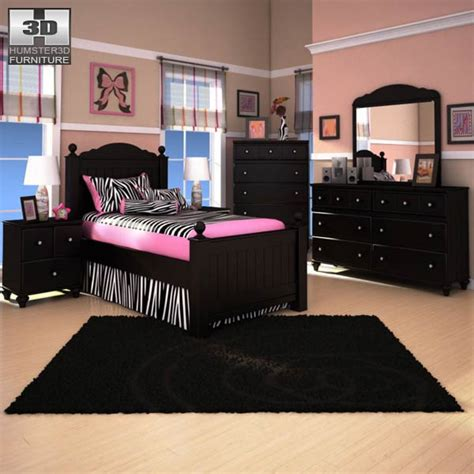 jaidyn bedroom set ashley jaidyn poster bedroom set 3d model humster3d