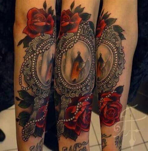 antique rose tattoo mirror school tattoos