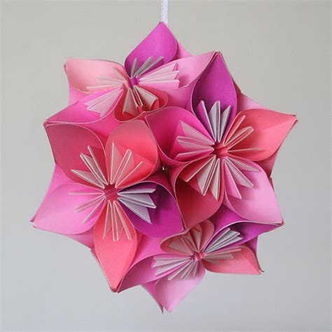 Japanese Origami Flowers - items similar to small pink kusudama origami flower