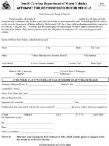 south affidavit template south carolina affidavit for repossessed motor