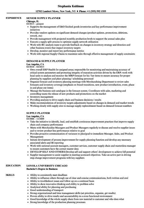 supply planner resume sles velvet
