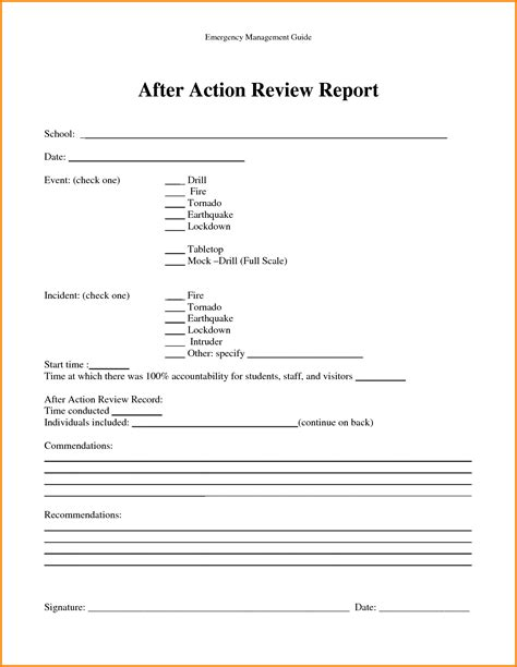 aar template after report templates free best free home
