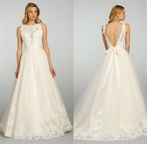 Chic Vintage Lace Wedding Dresses with Open Back   iPunya