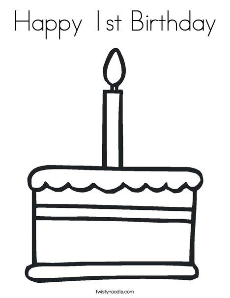 coloring happy birthday cakes candles pages happy 1st birthday coloring page twisty noodle