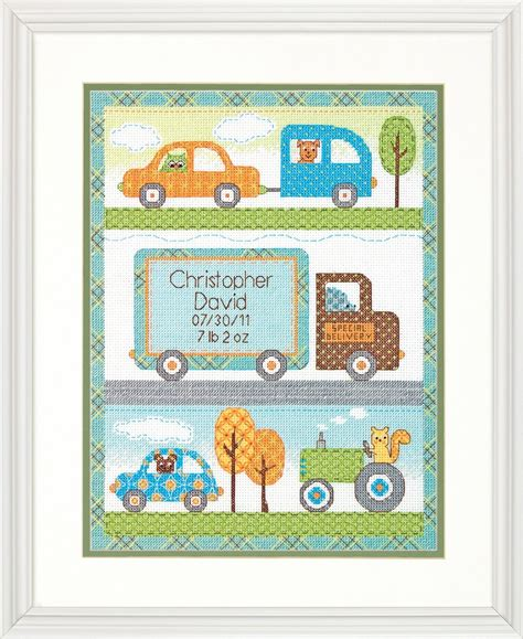 Birth Record Cross Stitch Kits Counted Cross Stitch Kit Baby Boy Birth Record Dimensions