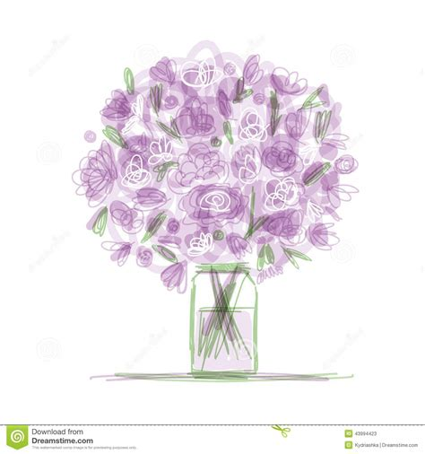 libro colour my sketchbook bloom floral bouquet in jar sketch for your design stock vector image 43994423