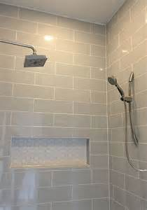 bathroom ideas tiled walls linear light gray shower wall tile with hexagon mosaic