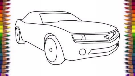 Drawing K by How To Draw A Car Chevrolet Camaro Bumblebee Step By