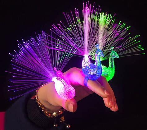 light up toys for kids novelty led flash rave toys light up peacock rings toys