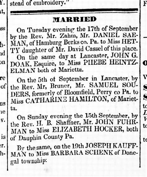 Dauphin County Marriage Records Photo 1833 Fuhrman Hocker Marriage Announcement