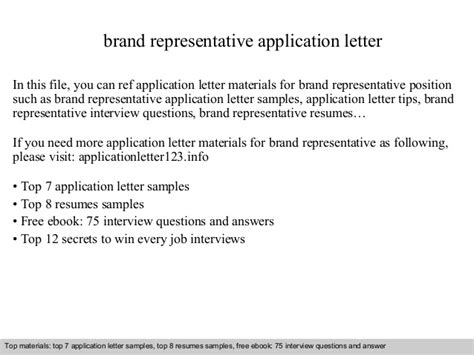 Brand Representative Application Letter Brand Rep Contract Template