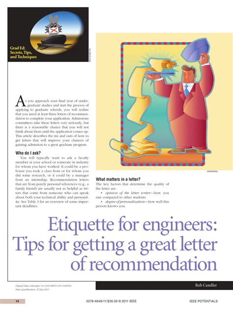 Reference Letter Etiquette etiquette for engineers tips for getting a great letter