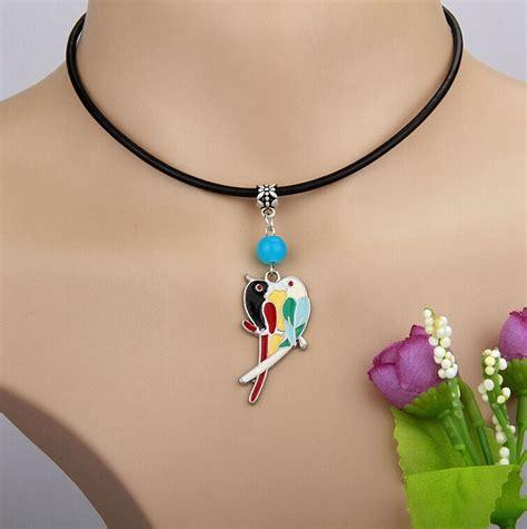 10pcs zinc alloy drop glaze lovebirds multicolor glass charm black leather rope pendants
