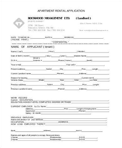 Application For Room Rental by Basic Rental Applications 8 Free Documents In Pdf
