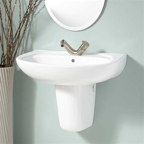 Ainsworth Porcelain Wall Mount Semi Pedestal Sink Bathroom