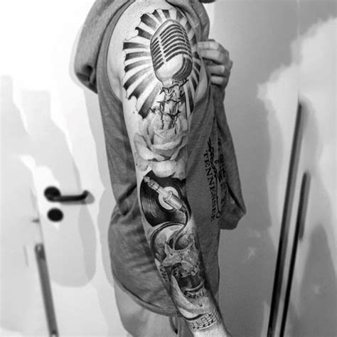 music themed tattoos designs big black and white detailed themed on
