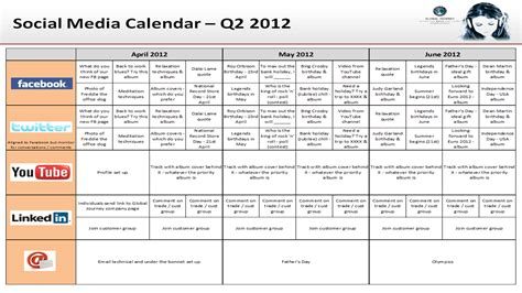 social media marketing calendar template best photos of social media marketing calendar template