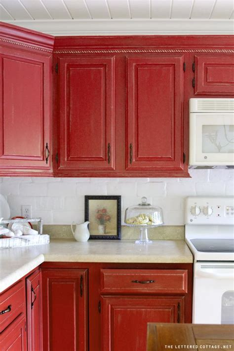 kitchen with red cabinets inexpensive kitchen fix up ideas countertop backsplash