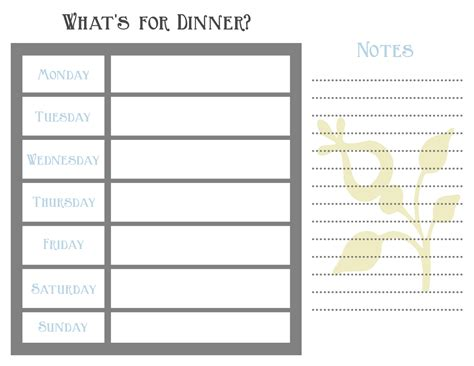 search results for printable weekly dinner menu template