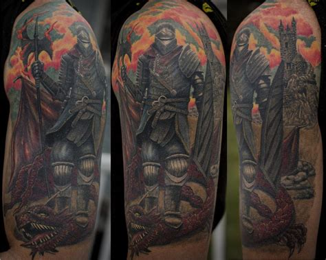 knight and dragon tattoo designs souls by larry brogan tattoos