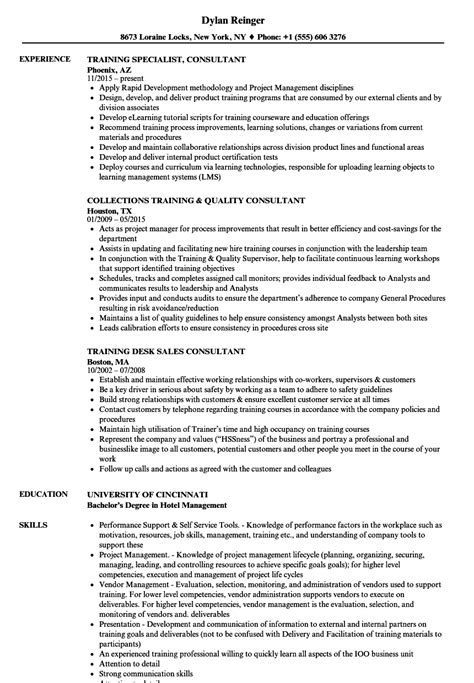 consultant training resume sles velvet jobs