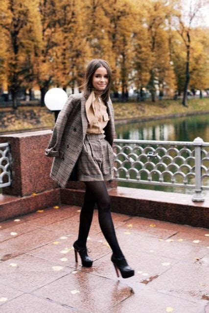 picture of with brown blouse tweed blazer black tights