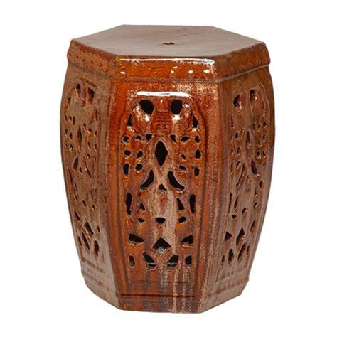 hexagon ceramic asian garden stool
