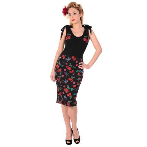 banned black cherry print rockabilly 50s vintage